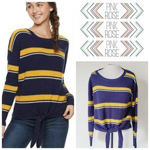FREE w/ Bundle PINK ROSE Striped Tie Sweater